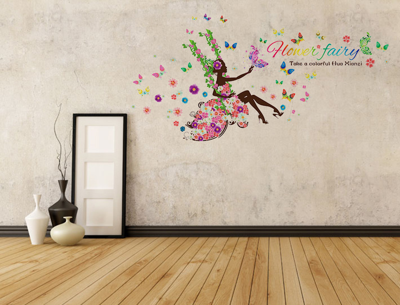 Kinderkamer Vlinder Compleet : Kleurrijke vlinder sprookje bloem meisje prinses kinderkamer decor