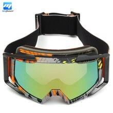Motocross Motorcycle Protective Goggles For Off-Road ATV Quad Bike Helmet Anti UV Orange + Yellow