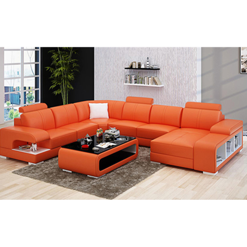 US $1499.0 |Foshan furniture Manufacturers Latest design modern max home  living room soft bright orange leather sofa-in Living Room Sofas from ...