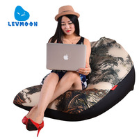 LEVMOON Beanbag Sofa Landscape Painting Seat Zac Comfort Bean Bag Bed Cover Without Filling Cotton Indoor