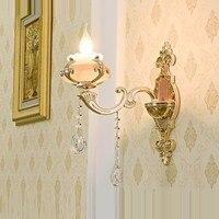 Спальня прикроватные бра Джейн Европейский кристалл jade настенный светильник светодиодный гостиная столовая Прихожая Коридор освещения
