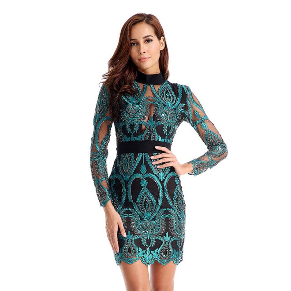 2019 新しい女性ドレスロングスリーブアウト中空有名人レースのイブニングパーティードレスセクシーなクラブ Vestidos 女性服  グループ上の レディース衣服 からの ドレス の中 1