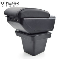 Vtear For VW Tiguan Allspace armrest box USB Charging heighten Double layer central Store content cup holder ashtray accessories