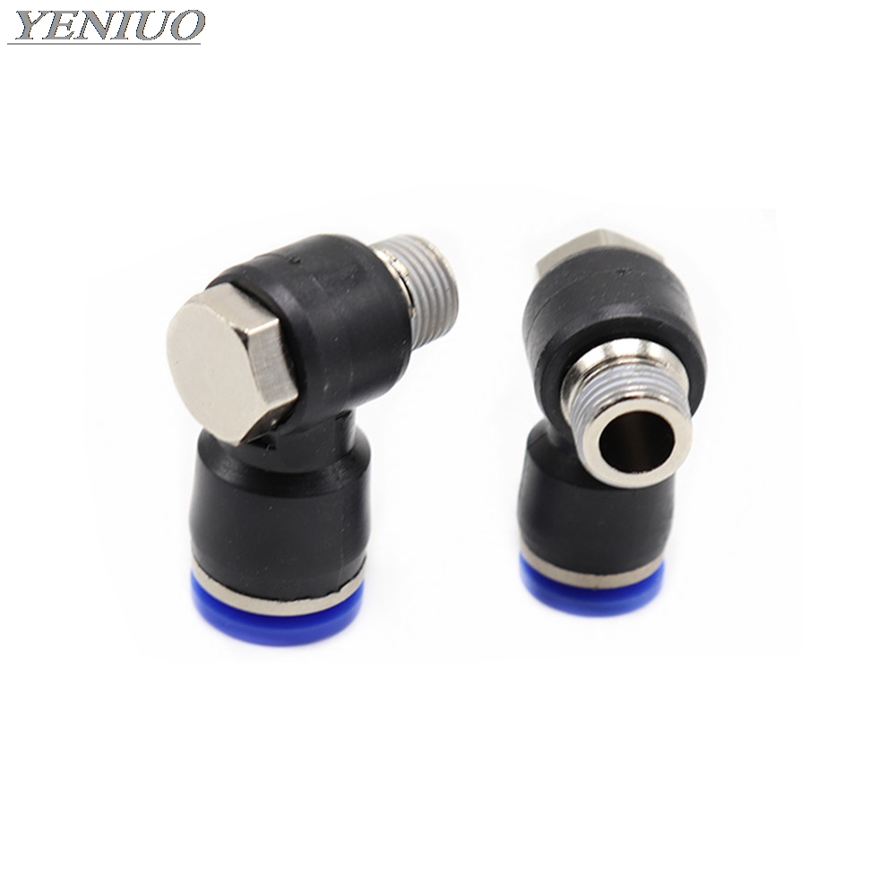"PH"" hexagonal Air Pneumatic Pipe Connector 4mm-12mm OD Hose Tube 1/8"" 1/4"" 3/8"" 1/2"" BSP Male Thread L Shape Gas Quick Fittings"