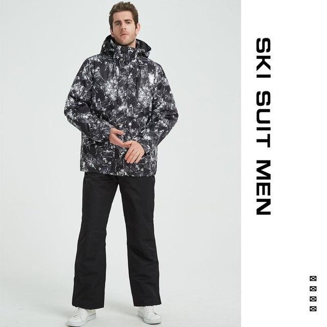 Лыжный костюм для мужчин зима 2018 термостойкая ветрозащитная одежда зимние брюки лыжная куртка для мужчин комплект Лыжный спорт и Сноубординг костюмы бренды