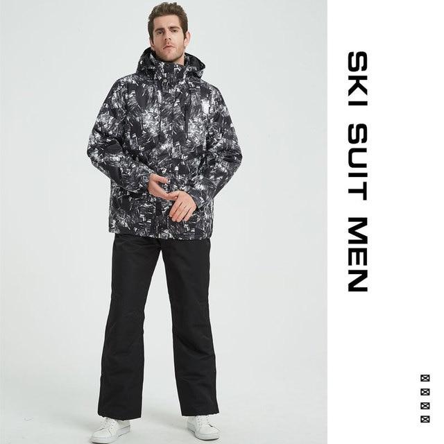 d1bd559e29 Ski Suit Men Winter 2018 Thermal Waterproof Windproof Clothes Snow pants Ski  Jacket Men Set Skiing