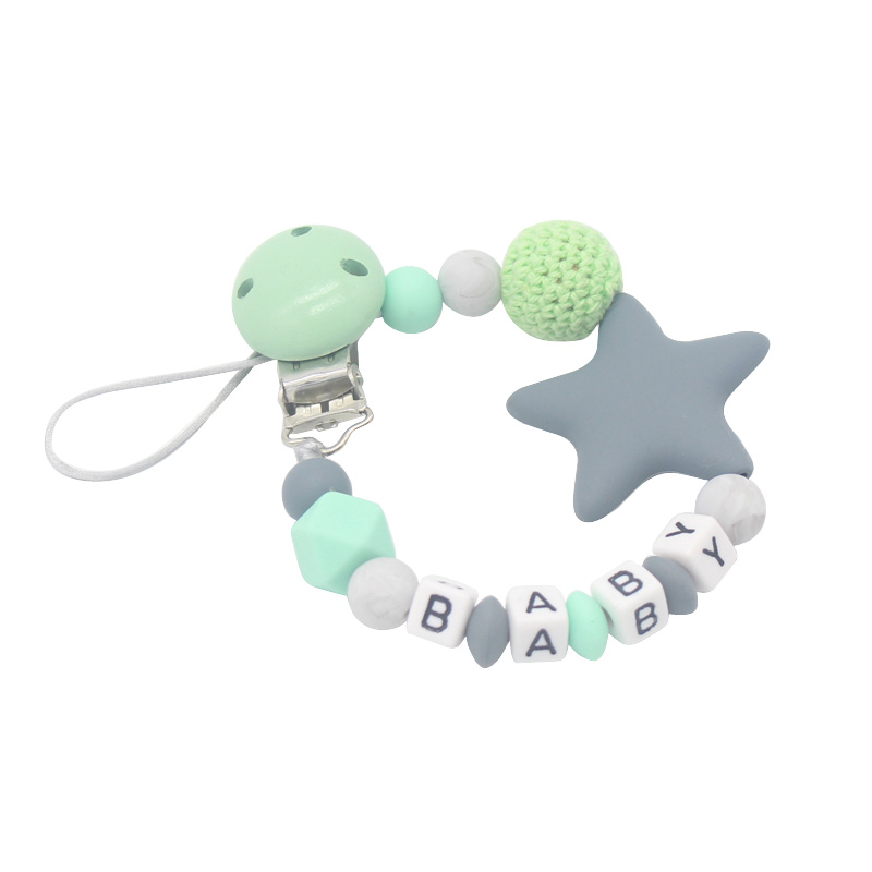 Personalised Name Five Star Silicone Beads Teething Newborn Baby Feeding Pacifier Clip Chain Nipple Teether Holder Chain