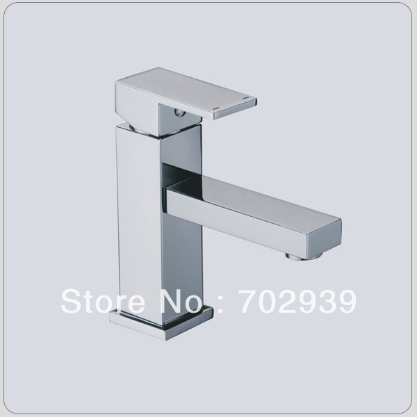 Free shipping polished chrome square Bathroom Sink Faucet free shipping polished chrome solid brass material bathroom sink waterfall square faucet