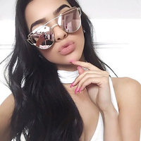 VCKA Cat Eye Sunglasses Women Brand Vintage Fashion Rose Gold Mirror Sun Glasses Unique Flat Ladies Sunglasses Oculos UV400