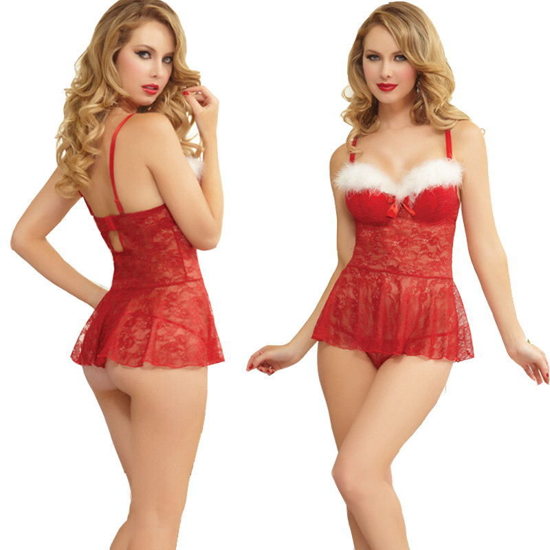 2018 Christmas Red Lace Perspective Dress Two-peciece Gament Women Sexy Lingerie Underwear Sleepwear Pajamas Exotic Costume 0675