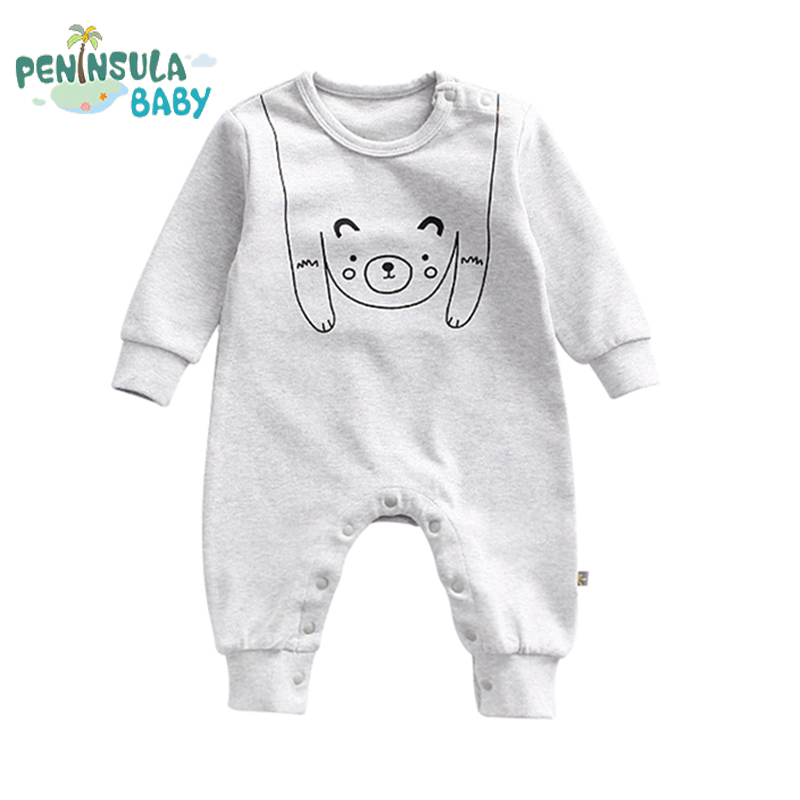 Funny Bear Cat Baby Rompers Animal Cartoon Solid Newborn Autumn Long Sleeve Infant Jumpsuit Baby Printing Girls Boys Clothes cotton baby rompers set newborn clothes baby clothing boys girls cartoon jumpsuits long sleeve overalls coveralls autumn winter