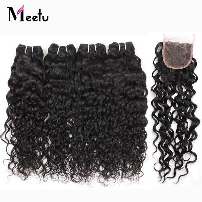 Meetu Malaysian Water Wave Bundles with Closure 100 Human Hair Bundles with Closure Baby Hair 4