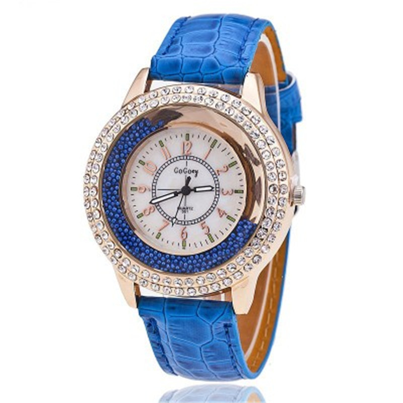 Fashion Rhinestone Women Watches Ladies Dress Crystal Leather Strap Quartz Wristwatches Bracelet Clock Montre Femme Reloj Mujer