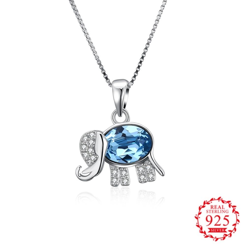 Edler Schmuck Kristall Von Swarovs Elemente Elefanten S925 Sterling Silber Halskette Kristalle Von Einfache Anhänger Schlüsselbein Hülse Kette Blauen Edelstein HeißEr Verkauf 50-70% Rabatt Anhänger