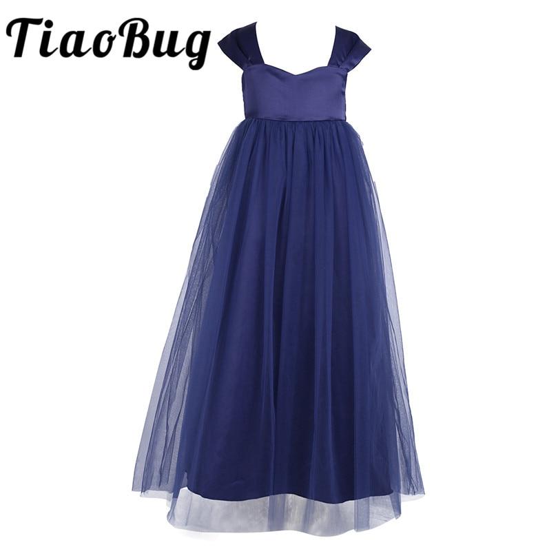 2020 Tiaobug Flower Girl Dress White Girls Sleeveless Tulle Tutu Princess Pageant Birthday Porm Party Bridal Dress for Weddingflower girl dressesflower girl dresses whitegirls white tulle dress -