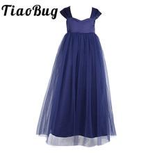 2020 Tiaobug çiçek kız elbise beyaz kızlar kolsuz tül Tutu prenses Pageant doğum günü balo parti gelin elbise düğün İçin