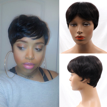 7A Quality Machine Made Human Glueless Cap Short Hair Brazilian virgin None Lace Hair Wig Short Style with Baby Hair Cheap Price