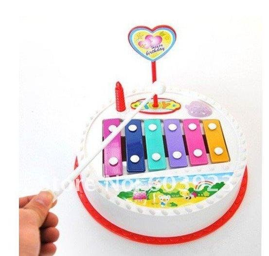 Birthday Cake Shape Drawing Piano Children Toy Knocking And Pulling Educational Fancy Music Knock Musical Toys For Kids