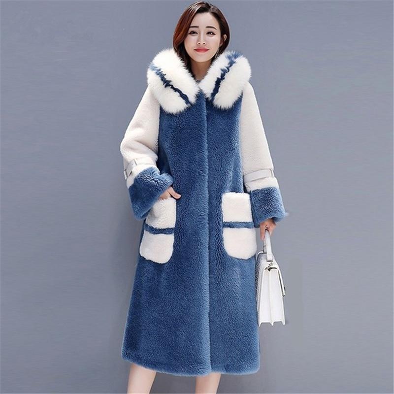 Faux Rabbit Fur Coat 2019 Long Fur Collar Winter Coats Women Loose Overcoat Luxury Thick Warm