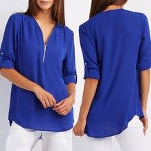 Женская шифоновая блузка с v образным вырезом на весну и лето