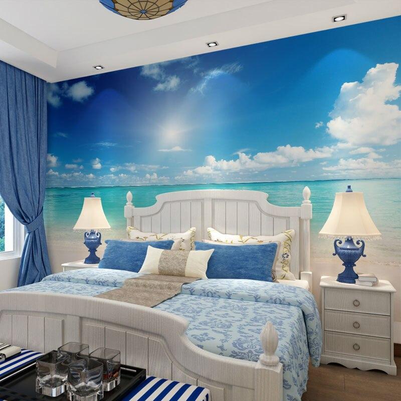 cielo azul ocano paisaje playa impresiones de la foto panel de pared papel de parede d