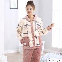 Autumn And Winter Coral Fleece Sleepwear Female Winter Thickening Winter Cotton-padded Pajamas Flannel Sleepwear