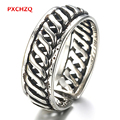 New male and female models silver jewelry, Thai silver and black chain chain ring tail ring openings retro classic