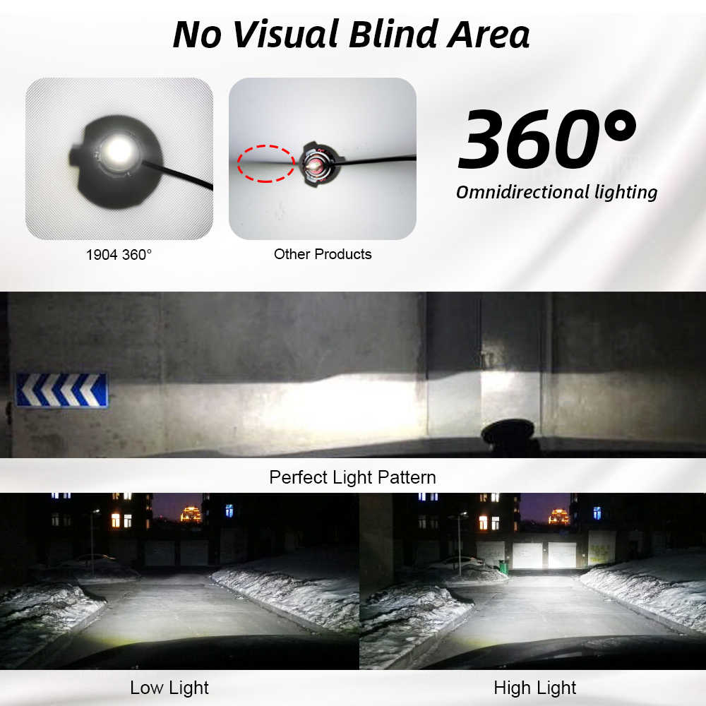 2pcs Car Headlamp Bulbs 4 Panels 8 lines 24 LED CSP Chip 9V to 36V 6000K 9005 9006 H1 H3 H7 H11 Auto 1904 Cold white Headlight