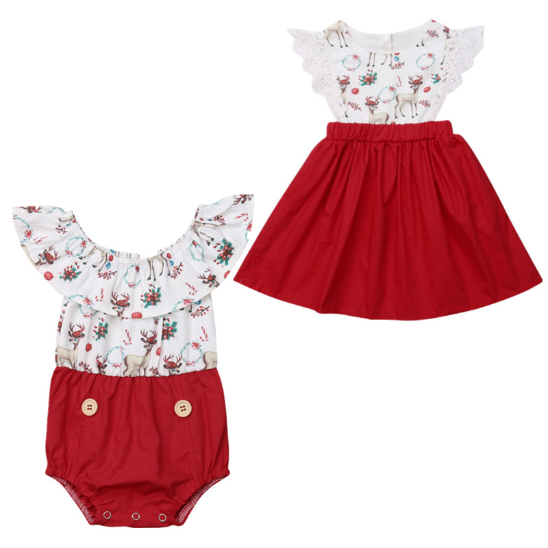 Family Matching Outfits Kids Baby Girl XMAS Sister Matching Jumpsuit Romper Dress Sundress 0-6Y