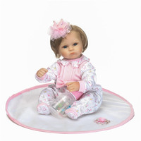 NPK brand silicone reborn dolls 1640cm pretty girl newborn babies princess dolls soft touch with magnetic pacifier bottle