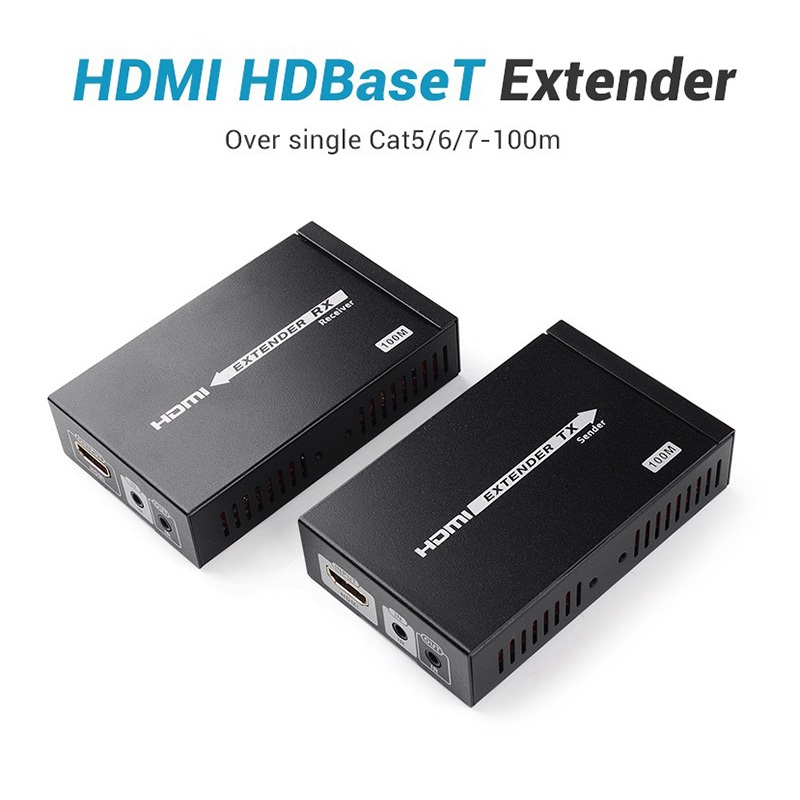 New HDBaseT Extender 100M HDMI Extender Over Single Cat 6 Ethernet Cable 3D 4Kx2K 1080P Transmitter Receiver For HDTV