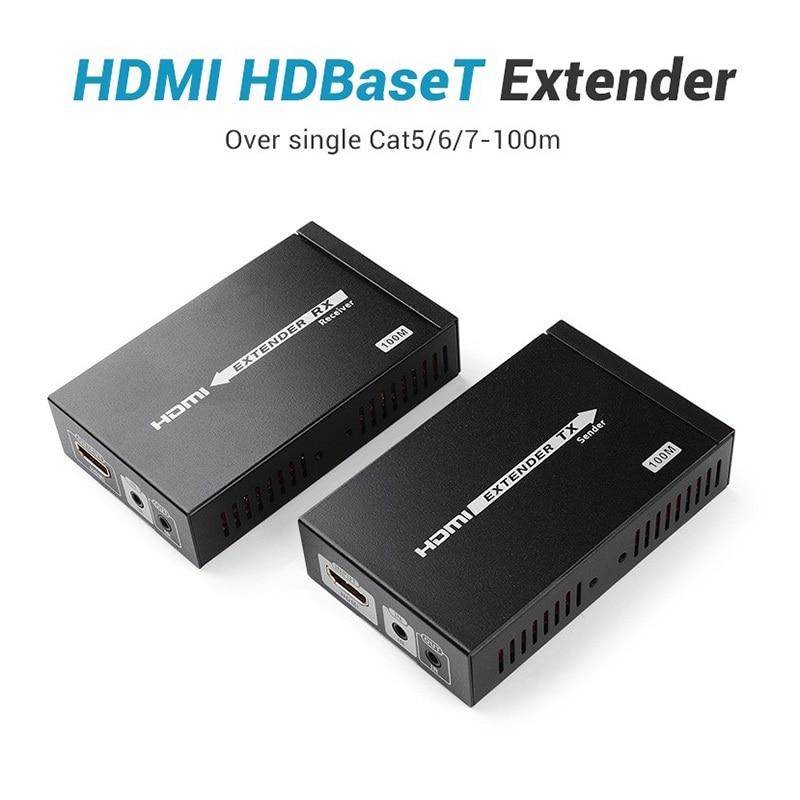 New HDBaseT Extender 100M HDMI Extender Over Single Cat 6 Ethernet Cable 3D 4Kx2K 1080P Transmitter Receiver For HDTV
