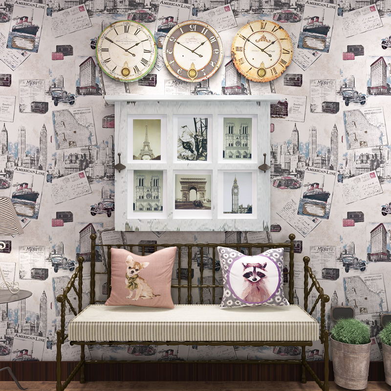 ФОТО Vintage england pictorial magazine pattern living room sofa background wallpaper mural