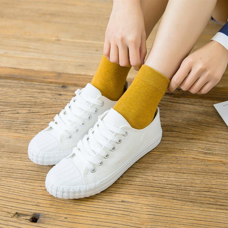 2019 women 1 pair rainbow socks school style cotton solid color women fashion fresh Funny Socks happy Girls Multicolor Sock in Stockings from Underwear Sleepwears