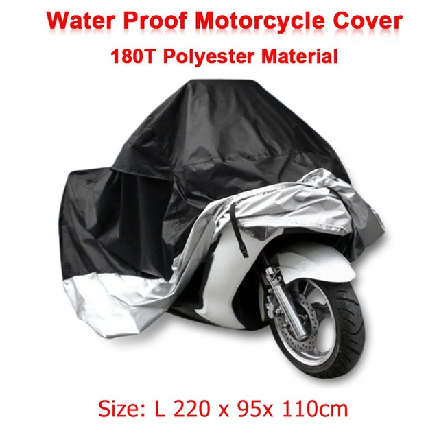 Size L 220 x 95x 110cm Motorcycle Covering Waterproof Scooter UV resistant Heavy Racing Bike Indoor Outdoor Cover Black D10