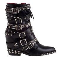Новое поступление пояса из натуральной кожи для женщин сапоги по щиколотку клиновидные обувь на высоком каблуке платформе заклёпки панк че