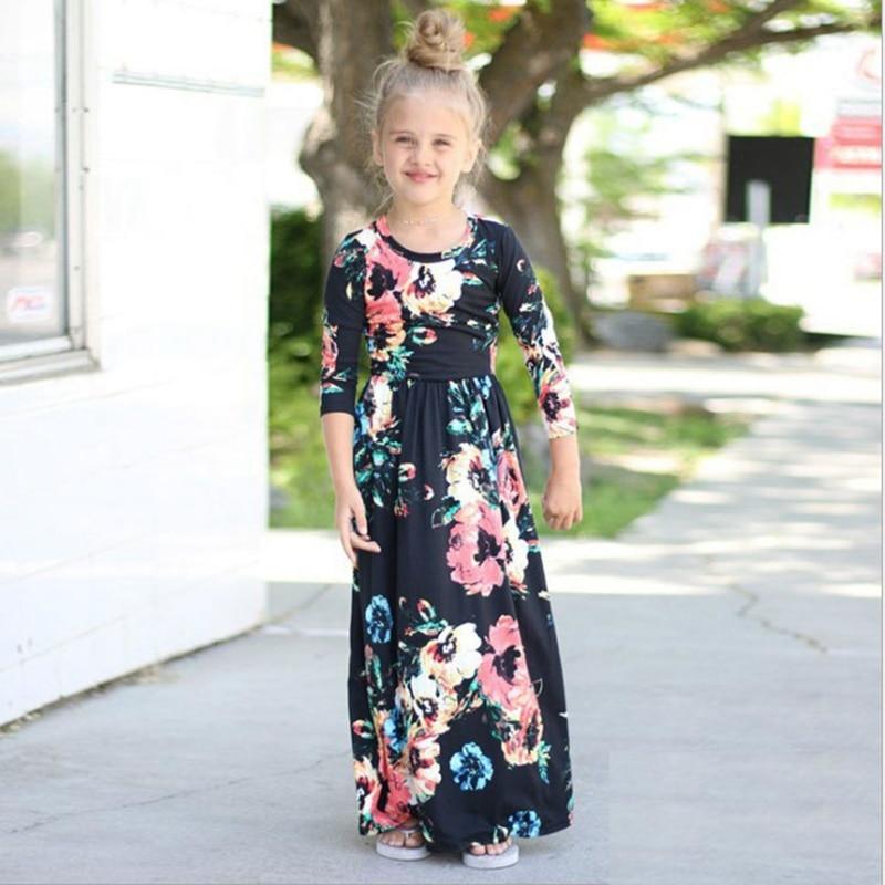 B&N Long Sleeve Party Kids Dress Floral Princess Girl Beach Dresses Spring Summer Autumn Bohemian Baby Clothes 1