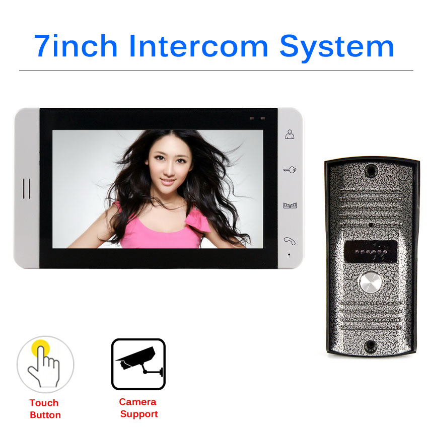 SMTKEY 7inch HD Screen Video Doorp Phone Doorbell Intercom System And 700tvl Out Camera Unit Support Cctv Camera Input