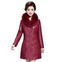 Women Thicken Down Cotton Leather Coats Plus Size 7XL 2017 New Winter Coats Big Fur Slim Leather PU Jackets long Camel hair warm