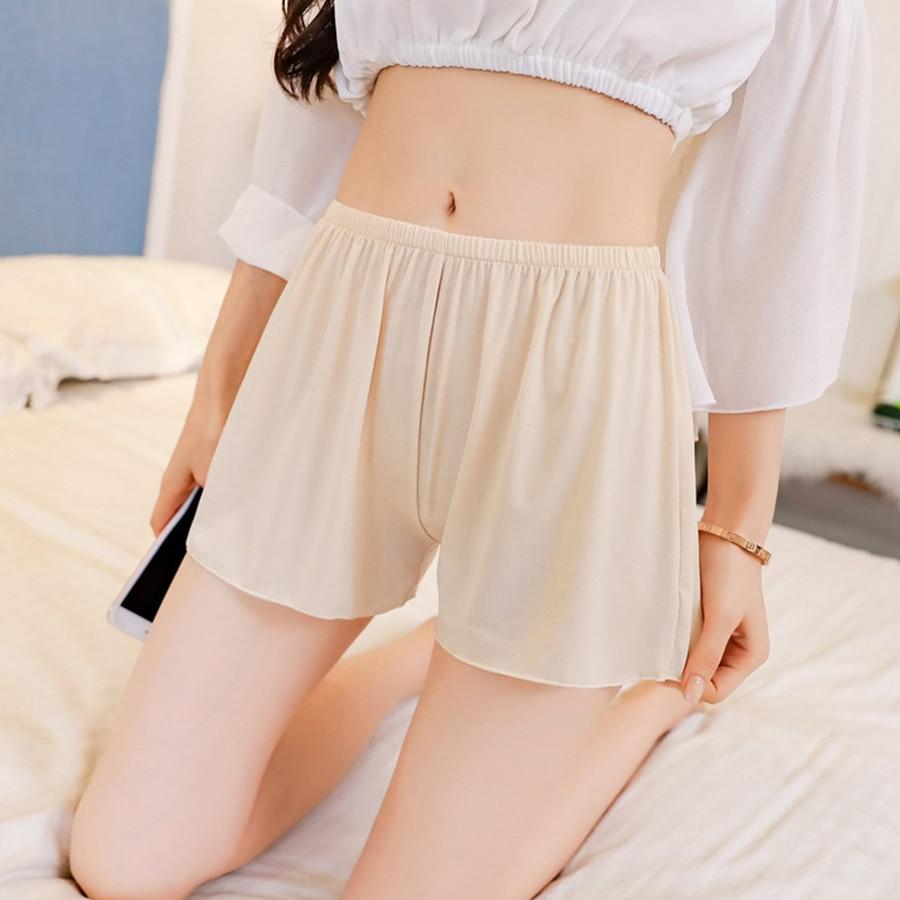 Summer Plus Size Short Sleep Bottoms Women Safety Short Leggings Sexy Loose Outwear Hot Pants Black White Skin Home Nightgown 2
