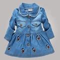De los Bebés de Mickey Bordado Vestido Infantil Niñas Vestido de Mezclilla de Dibujos Animados del Pato de Manga Larga Vestidos Del Bebé Jeans Muchacha Vestido KC059