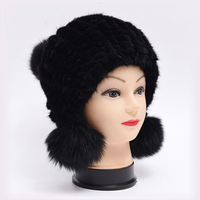 Fur Female Winter Hats Luxury Brand Designer Winter Cap Women Knitted Real Fur Hat Female New Fashion Beanies For Women