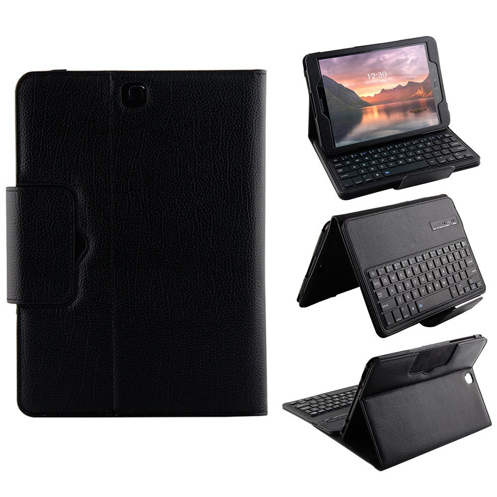 Kemile Removable Wireless Bluetooth Keyboard Portfolio Leather Stand Case Cover for Samsung Galaxy Tab S3 9.7 T820/ T825Tablet removable wireless bluetooth russian hebrew spanish keyboard stand pu leather case for samsung galaxy tab a 9 7 t555 t551 t550