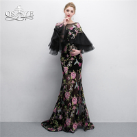 QSYYE 2018 Vintage Saudi Arabia Formal Evening Dresses 3D Print Flowers Puffy Sleeves Floor Length Long Prom Dress Party Gown