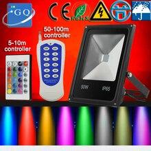 50 шт. 10 Вт 20 Вт 30 Вт 50 Вт 100 Вт 200 Вт RGB led прожектор AC85-265V AC12VAC24V DC12VD24V квадратный поиск прожекторы лампы наружного освещения
