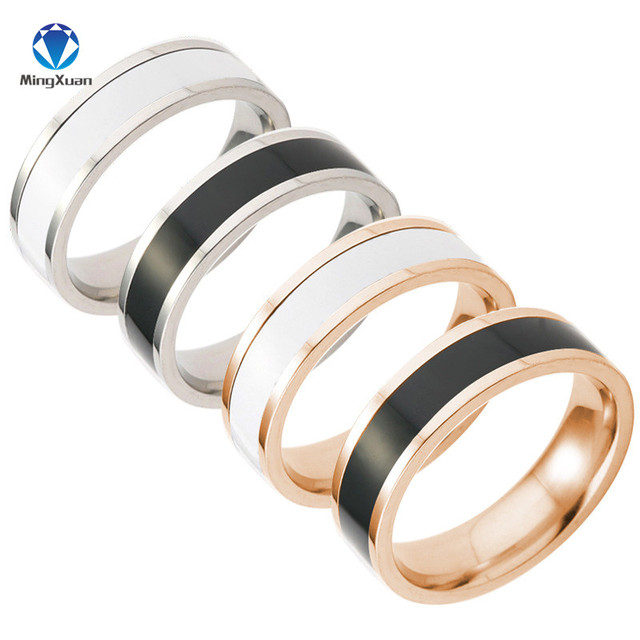MINGXUAN black and white ceramic 316L Stainless Steel finger rings for women/men
