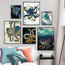 Abstract Octopus Jellyfish Snake Wall Art Canvas Painting Nordic Posters And Prints Animals Wall Pictures For Living Room Decor(China)