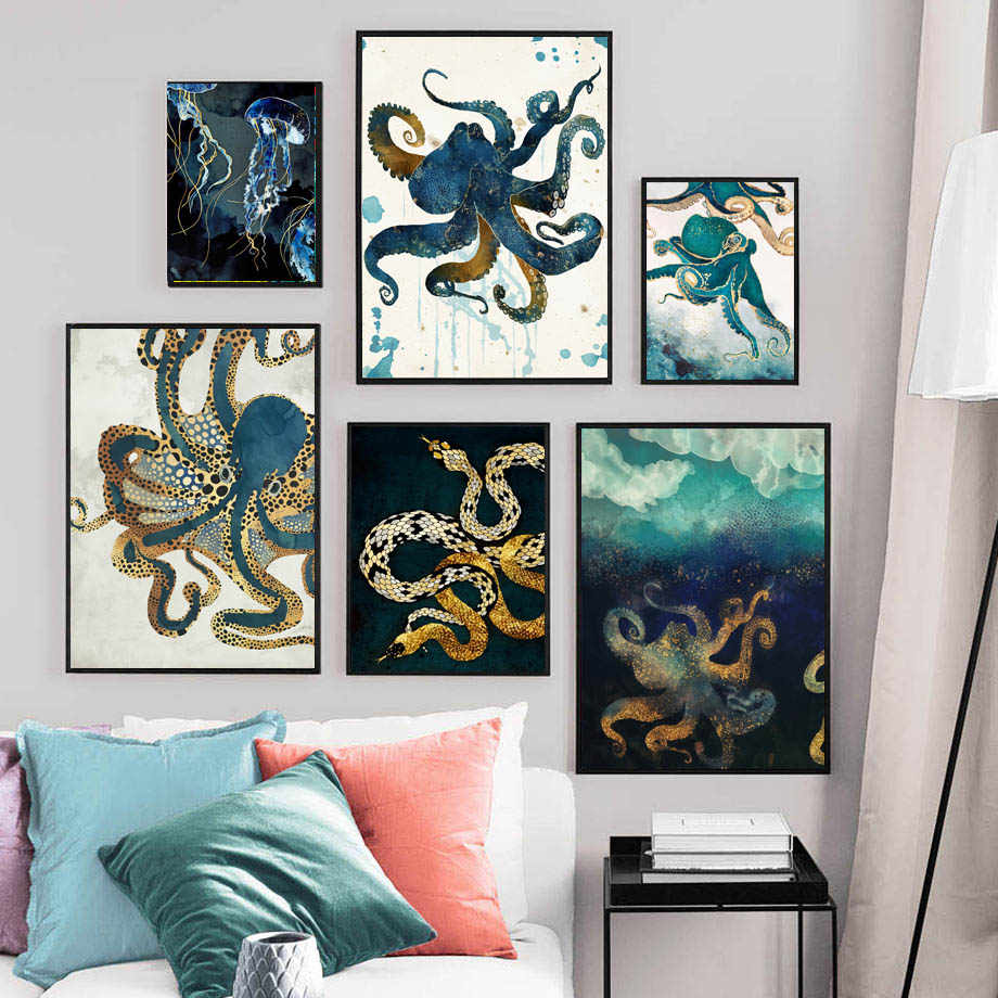 Abstract Octopus Jellyfish Snake Wall Art Canvas Painting Nordic Posters And Prints Animals Wall Pictures For Living Room Decor