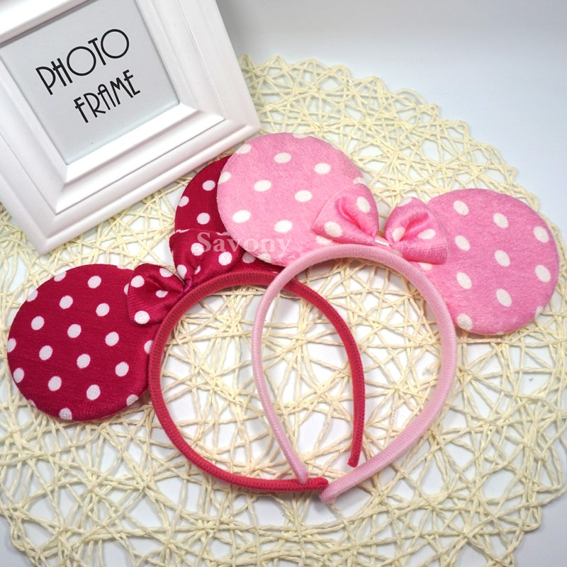 1piece Lovely Pink Girls Bows Minnie Mouse Ear Hair Accessories Girls Headband Children Birthday Headwear Party Accessories