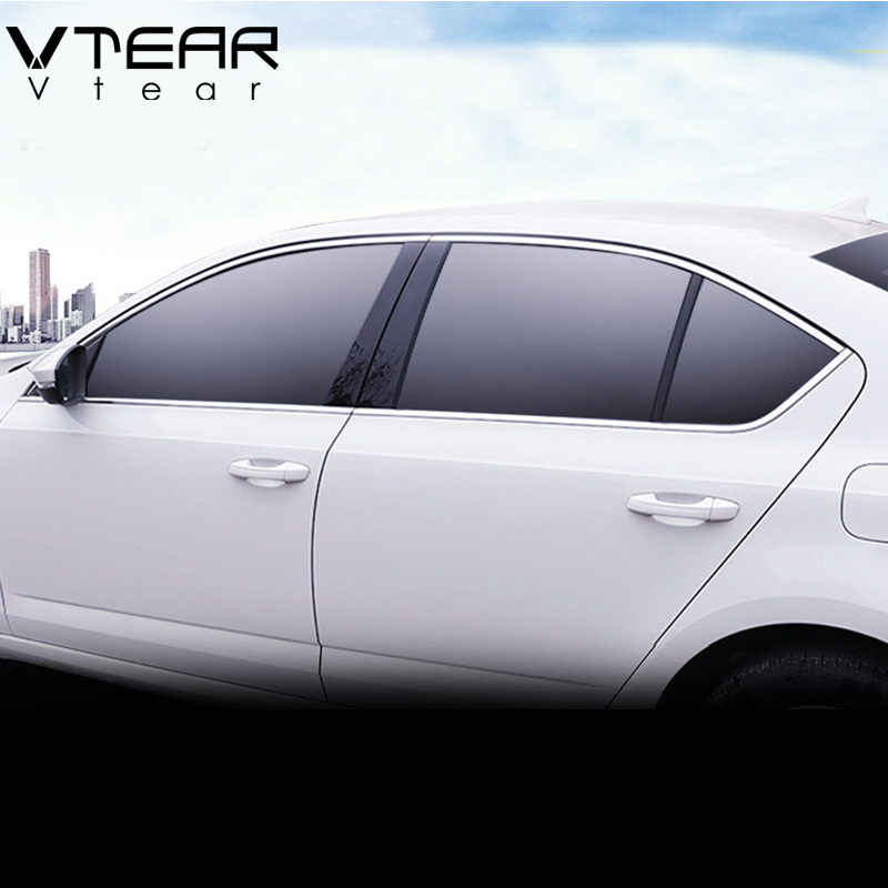 Vtear For Skoda Octavia A7 window trim cover Exterior Chromium Styling Stainless steel car styling decoration